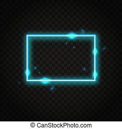 Neonblauer Rechteckrahmen mit Platz für Text