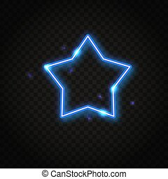 Neonblauer Sternenrahmen mit Platz für Text