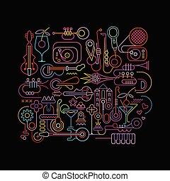 Neonfarben abstraktes Musikdesign