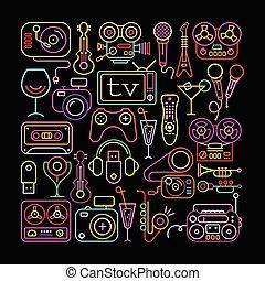 Neonfarbene Unterhaltungs-Icons