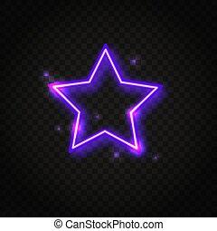 Neonfarbener Sternenrahmen mit Platz für Text