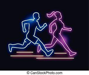 Neonlicht laufende Leute unterschreiben