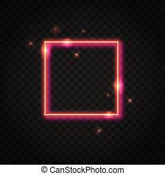 Neonroter Quadratrahmen mit Platz für Text