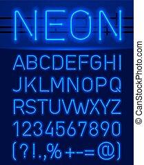 Neonschrift und Symbole.