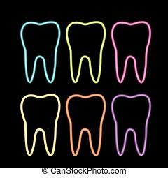 Neonzahngrafik für den Zahnarzt
