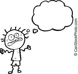 nervös, karikatur, junge