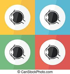 nerv, begriff, koerperbau, hornhaut, keratitis, pinguecula, design, auge, pterygium, ), (, bindehautentzündung, ikone, wohnung, linse, gläsern, humor, sorgfalt, iris, glaukom, krankheit, bindehaut, schüler, etc), grauer star