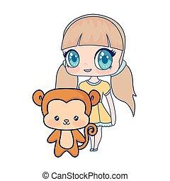 Nett lächelndes Anime-Affe-Baby.
