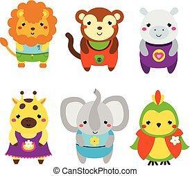 Nette afrikanische Tiere. Kartoon kawaii Tiere gesetzt