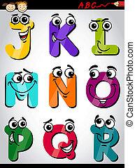 Nette Buchstaben, die Zeichentrickfigur.
