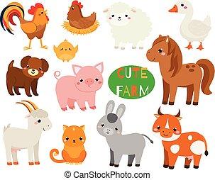 Nette Cartoon-Farmtiere. Schwein, Schafe, Pferd und andere einheimische Kreaturen für Kinder und Kinder