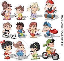 Nette Cartoon-Kinder spielen.