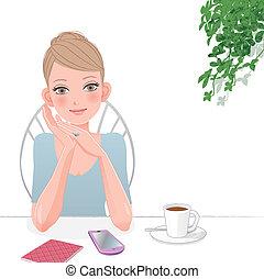 Nette Frau, die sich im Café mit Smartphone entspannt