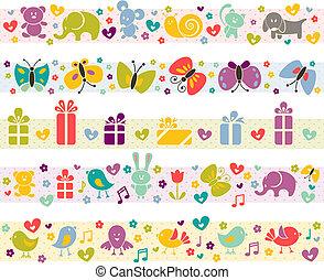 Nette Grenzen mit Baby-Ikonen.