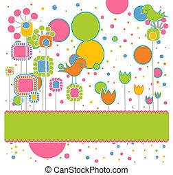 Nette Grußkarte mit Blumen und Vögeln