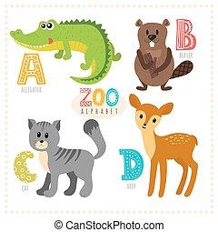 Nette Karikaturen. Zoo-Alphabet mit lustigen Tieren. A, b, c, d Buchstaben. Alligator, Biber, Katze, Reh