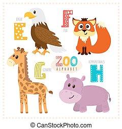 Nette Karikaturen. Zoo-Alphabet mit lustigen Tieren. E, f, g, h Buchstaben. Adler, Fuchs, Giraffe, Nilpferd