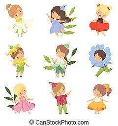 Nette, kleine Kinder, die Blumenkostüme tragen, süße Jungs und Mädchen in farbenfrohen Karnevalskleidung Vektorgrafik.