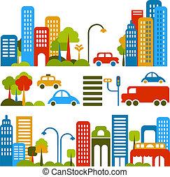 Nette Vektor-Illustration einer Stadtstraße
