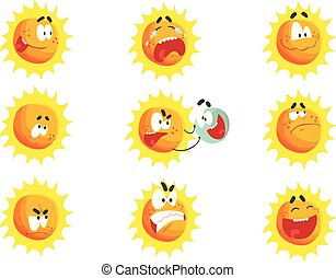 Nette Zeichentrick-Sonne verschiedene Emoticons. Emotionaler Gesichtssatz von bunten Zeichen Vektor Illustrations