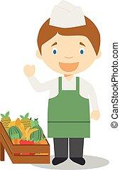 Nette Zeichentrickfilm-Vektor Illustration eines Obstverkäufers.