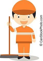 Nette Zeichentrickfilm-Vektorgrafik eines Straßenkehrers.