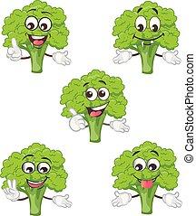 Netter Brokkoli Charaktersatz . Kartoon Vektorgrafik