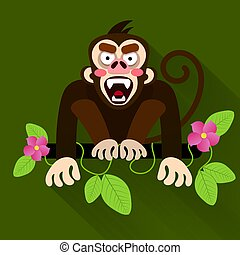 Netter Cartoon-Baby-Affen, der an einem Baum hängt.