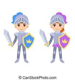 Netter Comic-Junge und Mädchen-Ritter