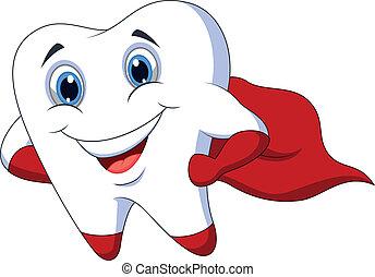 Netter Comic-Superhelden-Zahn.