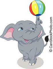Netter Elefant-Cartoon-Ball.