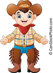 Netter, glücklicher Junge mit einem Cowboy-Kostüm.