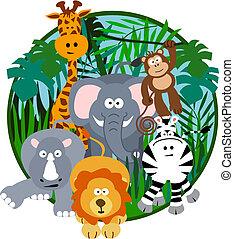 Netter Safari-Zeichentrickfilm