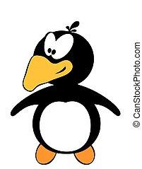 Netter Trickfilm-Pinguin, isoliert auf weiß.