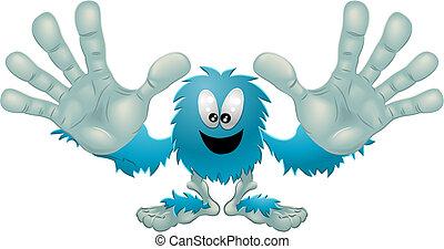 Nettes, freundliches, pelziges blaues Monster
