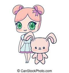 Nettes lächelndes Anime-Mädchen Kaninchenbaby.