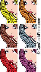 Nettes Mädchen-Gesicht mit Farbhaaren
