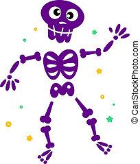 Nettes tanzendes Skelett, isoliert auf weiß