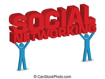 networking, abbildung, vektor, menschliche , sozial, 3d, ikone