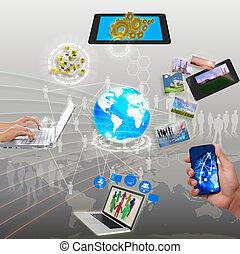 networking, synchronisierung, anteil, strömend, informationen, wolke