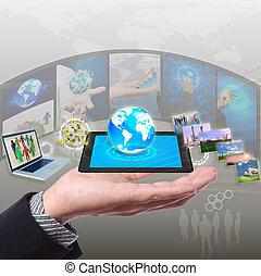 networking, synchronisierung, anteil, stramimg, informationen, wolke