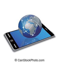 Netzwerk Erde auf Smartphone
