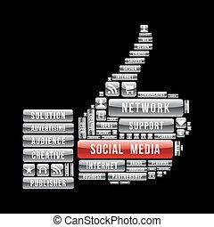 Netzwerk-Sozialmedien- Daumen hoch