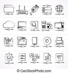 Netzwerk- und Internet-Icons.