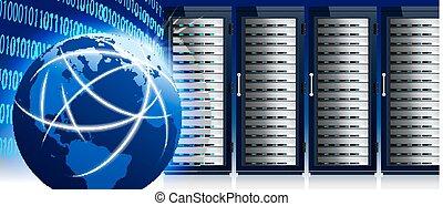 Netzwerk- und Internet-Welt mit Kommunikationstechnologie, Rechenzentrum, Serverständer.