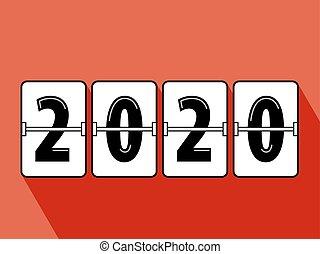 neu , glücklich, schnellen, 2020, jahr, uhr, stil