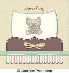 Neue Babykarte mit Elefanten