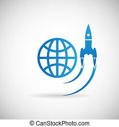 Neue Business Projekt Startsymbol Raketenraumschiff Start Icon Design Vorlage auf graue Hintergrund vektorgrafik.