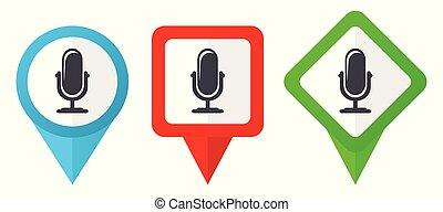 Neue Produkt-Rot, blau und grün Vektorzeiger Icons. Farbige Positionsmarker, isoliert auf weißem Hintergrund leicht zu bearbeiten.