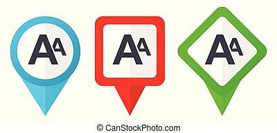 Neue rote, blaue und grüne Vektorzeiger Icons. Farbige Positionsmarker, isoliert auf weißem Hintergrund leicht zu bearbeiten.